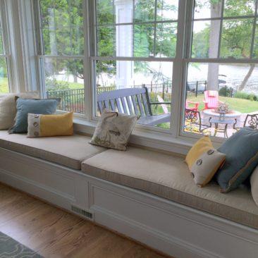 Custom window seat bench cushion homeowner in Severna Park