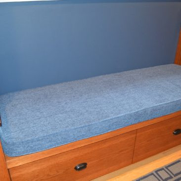 blue bench cushions reupholstery for boys room in Severna Park