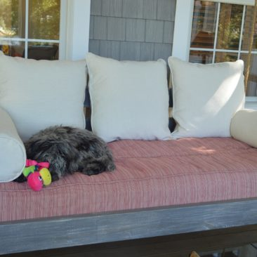 custom cushion reupholstery for outdoor couch swing