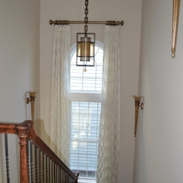 window drapery panels for tall window with arch