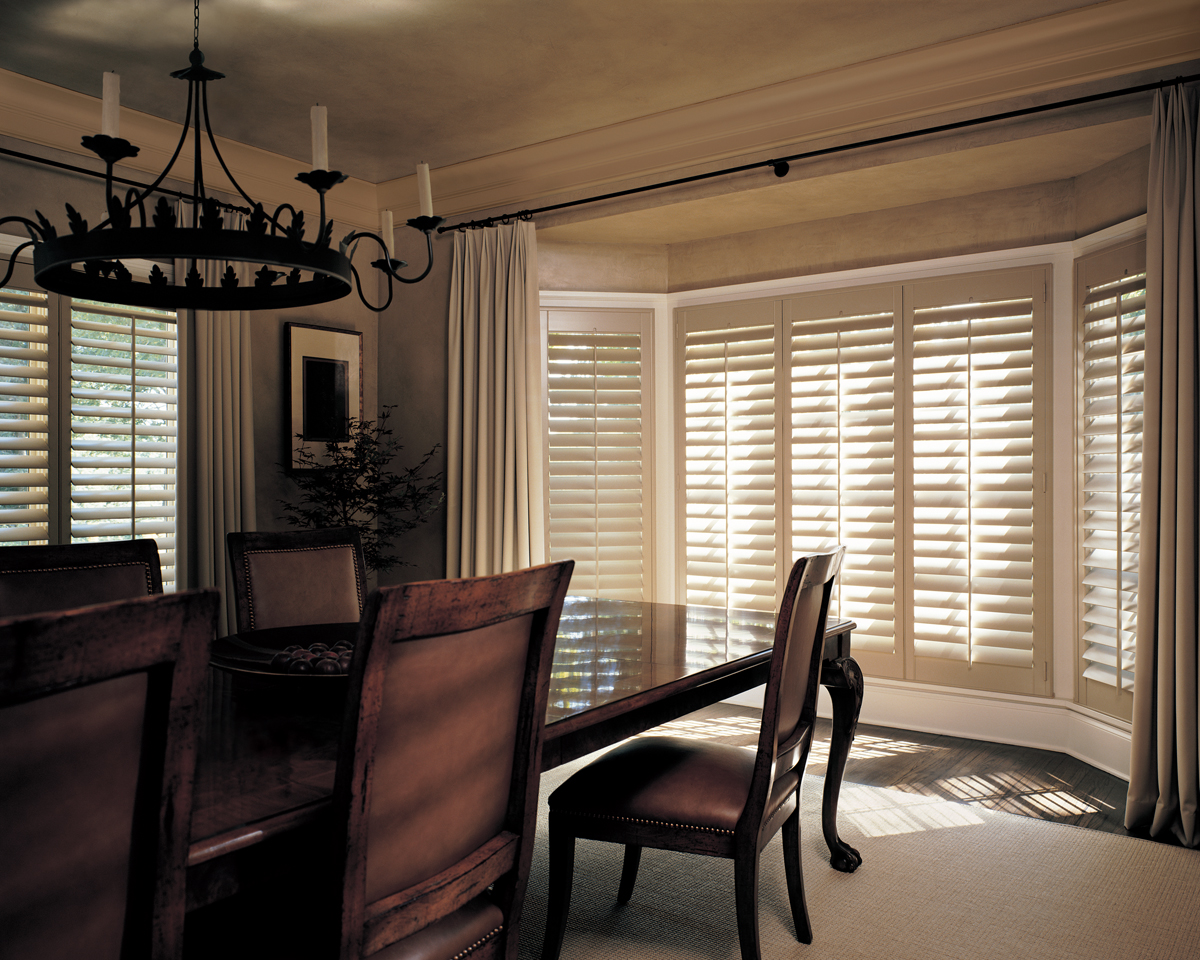 hunter douglas plantation shutters on bay window